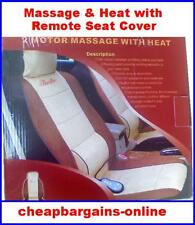 GREY MASSAGE & HEATED CAR SEAT COVER REMOTE CONTROL LUMBER SUPPORT UNIVERSAL FIT