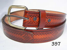 New Tooled Genuine Cowhide Leather Western Belt Navajo Theme Rust Color Size 48