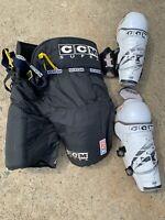 CCM Supra Hockey Black Pants And NHL Pro Tacks Knee Pads XL