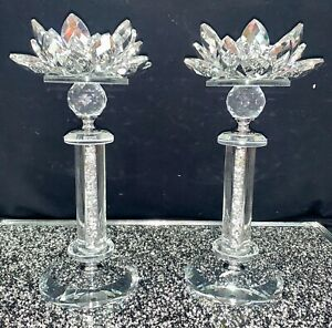 CRUSHED DIAMOND SILVER CRYSTAL PAIR OF CANDLESTICKS