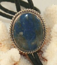 Sterling Silver Sodalite Bolo Tie with Braided Leather Cord (Bolo 142)