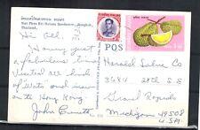THAILAND Stamps:Wat Phra Sri Ratana Sasadaram Postcard to Grand Rapids, Michigan