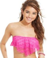 Hula Honey Crochet Flounce Bikini Top Pink Lilac Size Large