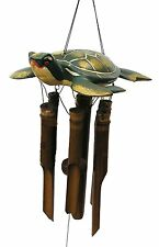 Sea Turtle Wind Chime Carved Coconut Bamboo Wood Hand Made Cohasset