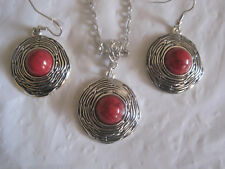 "Red Turquoise and Tibet Silver 18"" Necklace and Earrings Set~Free Ship~LBDEZ"