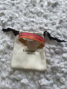 NEW Kate Spade New York Gold-Plated NEON PINK ORANGE Bangle Set Bracelet CUTE