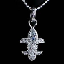 *FLEUR DE LIS*__BRILLIANT CLEAR CZ PENDANT NECKLACE w/CHAIN__925 STERLING SILVER