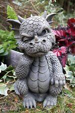 "The Thinker Whimsical Garden Dragon Statue 10""H Cute Baby Dragon Winking Eye"