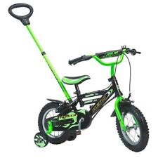 Kids 12 Inch First Bike Parent Handle Green Boys Girls Bicycle Stabilisers Gift