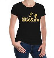 Damen Kurzarm Girlie T-Shirt Bergkraxler Bergsteiger Bergsteigen Klettern Gipfel