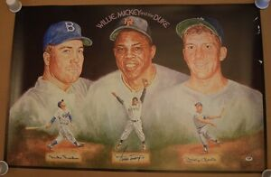 Mickey Mantle Willie Mays Duke Snider Signed Auto 24x36 Lithograph PSA/DNA