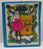 "1968 Mattel Barbie Doll Case 12 1/2"" Blue Clothing Accessories Purse Coats #1002"