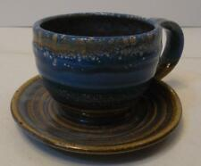 SIGNED NEDZA ART POTTERY BLUE AND GREEN BOWL SHAPED LIKE COFFEE CUP AND SAUCER