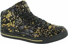 New Gotta Flurt Black w/ Gold Sequin Sneakers 3/4 Top Sporty Girls Shoes Size 2