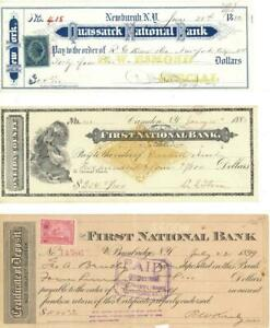 Lot 3 Different New York State National Bank Checks 1882-1889