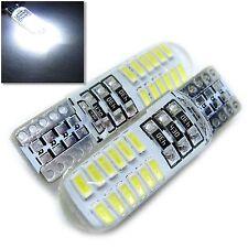 UK x2 SILICONE 24 SMD T10 W5W 501 WHITE LED BULB 12v