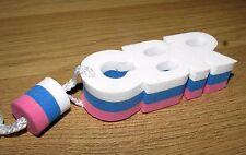 CBR Mot mousse lettre blanc / Bleu/rose porte clés Bague SOLDES