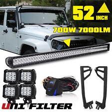 For Jeep Wrangler JK 52INCH 700W LED Work Light Bar +4x Pods Cube +Mount  Bracket (Fits: 2013 Jeep Wrangler)