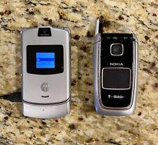 Motorola Razr Silver Cingular Cell Phone & Nokia T-Mobile Rm-77 Cell Phone Read