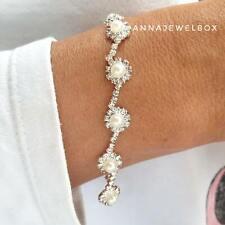 Silver White Pearl Cubic Zirconia Crystal Tennis Bracelet Bangle FREE Gift UK