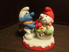 Vintage Smurf Building Snowman Christmas Collectibles Ceramic Figurine 1982