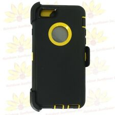 """Black Yellow For iPhone 6S Plus (5.5"""") Case w/ Clip fits Otterbox Defender"""
