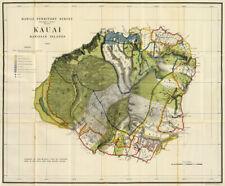 Hawaii Territory Survey Kauai c1906 map repro 24x20