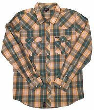 LRG Wovens Yellow and Green Plaid Long Sleeve Shirt in Large