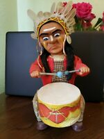 Vintage 60s Indian Chief Drummer Battery Operated Toy Alps Japan