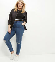 NEW LOOK CURVES PLUS SIZE BLUE RIPPED KNEE SKINNY JEANS SIZE 18 20 22 24 26 28