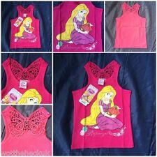 Official Girls Disney Princess Rapunzel T-Shirt Top Vest Lace Pink Sleeveless