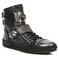 New Rock Mens M.PS028-S1 Mens Embossed Leather Sneaker Boot BLACK