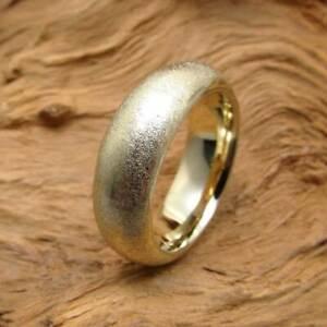 Wert 2540,- Gold Ring aus 585 / 14 KT Gelbgold Ring breit schwer massiv mattiert