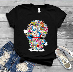 Doraemon Mosaic With Takashi Murakami Flower Unisex T-shirt Size S-4XL