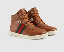 BNIB Beautiful Designer GUCCI Boys Leather Web High-top Sneakers Shoes Boots 33