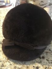 "Nice! Vintage ! 1950's Martelle Faux Fur Soft Brown "" Riding Hat"" Bloomingdales"