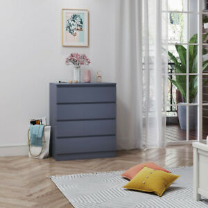 Modern Chest of Drawers Bedside Table Cabinet 4 Draws Bedroom Storage Grey Color