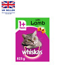 Whiskas 1+, Dry Cat Food for Adult Cats, Kibble with Tasty Lamb, 1 x 825 g