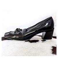 MIU MIU PRADA Black Patent Leather Chunky Heel Pumps Shoes 38