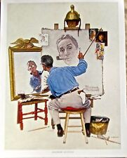 Norman Rockwell  Triple Self-Portrait 14x11 Offset Lithograph Reprint Unsinged
