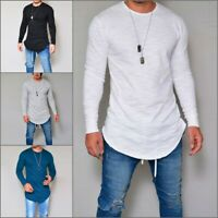 Men's O Neck Long Sleeve Muscle T-shirt Slim Fit Cotton Casual Tee Tops Blouse
