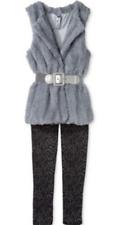 Beautees Girls' 2-Piece Faux Fur Vest & Animal-Print Leggings, Gray, Size S, $42