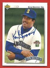 1992  KEN  GRIFFEY  SR. AUTHENTICATED  AUTOGRAPHED  HAND SIGNED # 335  U. DECK