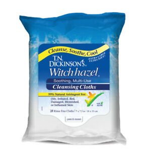 T.N. Dickinson's Witch Hazel Cleansing Cloths, 100% Natural, 25 Count