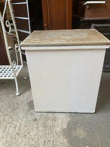 Vintage White Painted Laundry Bin Basket Cork Seat Top Vanity Stool Toy Box