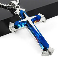 Men Unisex's Blue Silver Stainless Steel Cross Pendant Necklace Chain Gift