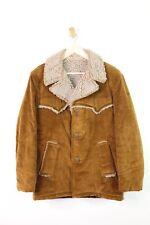 Men's Vintage Brown Corduroy Jacket Coat, Rancher Style, Sherpa Lined, M