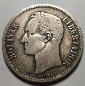 1924 Venezuela 5 Bolivares Gram 25 Silver Coins