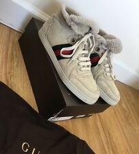 GUCCI Women's Natural Tan Shearling Accent High Top Sneakers! Size 38!