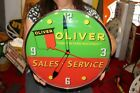 """Oliver Sales & Service Farm Tractor Gas Oil 15"""" Lighted Metal Pam Clock Sign"""